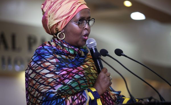 Deka Yasin, Minster of Women and Human Rights Development, Federal Government of Somalia, speaks at the Somali Women's Conference in the Royal Palace Hotel, Mogadishu, Somalia, on Wednesday 06 March 2019. The conference is being supported by UNDP Somalia.